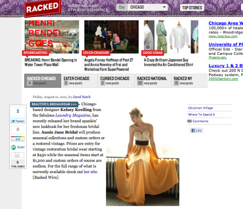 Many thanks to Racked Chicago for featuring Annie Jane Bridal today!