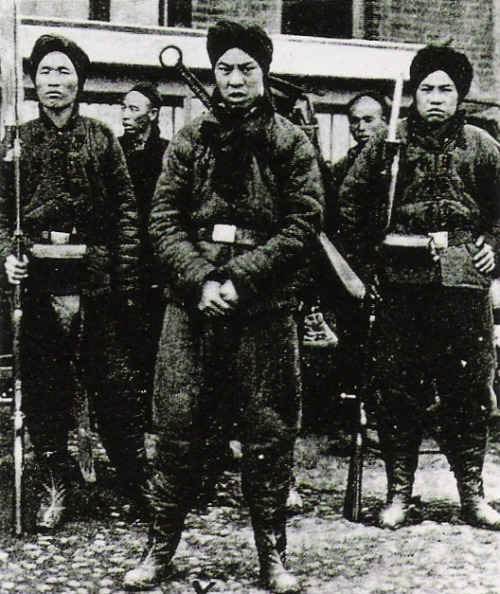 Boxer soldiers during the Boxer Rebellion. Northern China, 1900.