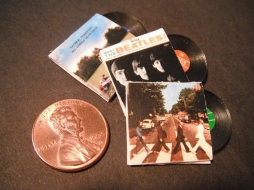 Miniature Beatles albums for your dollhouse. I love this.