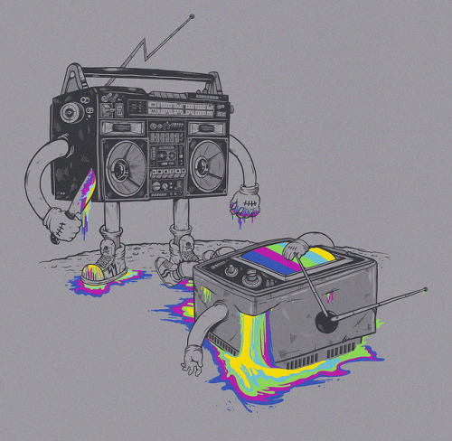 Finally Mr. Radio got his revenge is up for scoring at threadless! http://threadless.com/submission/362272/Revenge_of_the_Radio_star
