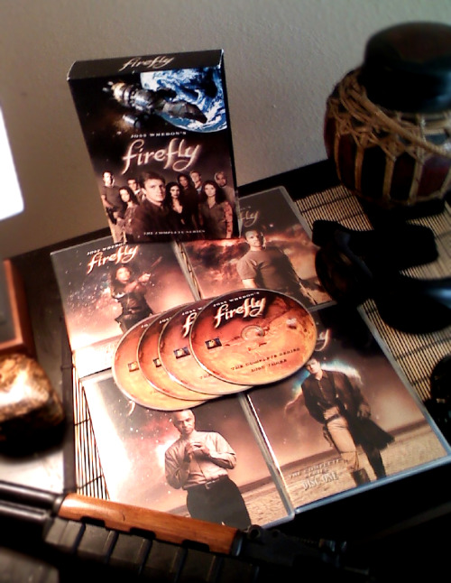 "browncoats:    ""Firefly"" Box Set giveaway/Shameless Self Promotion Rules: to be eligible for the drawing you must both reblog this post, & like the Facebook Page for my sci-fi novel ""Edan"" (After cross-checking I will use a randomizer to select a winning name.) The winner will be announced on Monday August 15th. I will notify the winner by ask box or email & get your shipping info. (What ever you have available, if you dont have either you will be disqualified.) (Box set contains 4 DVDs with 14 episodes. Plus deleted scenes, gag reel, & more.[3 that were never aired.] Slightly used.) I am really excited about my book, and appreciate all the support my fellow Browncoats have given me in this creative endeavour. ~ Esau Kessler"