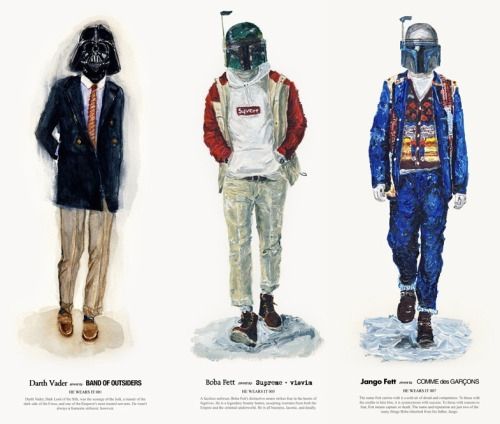 "Hong Kong Based Designer and Illustrator John Woo ""Based on fictional characters and mainly highlighted for his Star Wars renditions, John Woo looks to present outfits from different seasons in a quirky and funny medium. The illustrations would be fantastic on their own but to mix it with well known labels and menswear brands, pretty genius if you ask me. One of the main reasons I thought of showcasing these was because you can now purchase prints at John's Etsy shop, definitely worth heading that way to check them out. Could look great hanging on a wall. I've placed some of my favourites above and below.  www.wooszoo.com"""