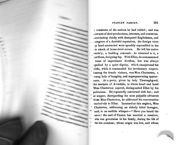 Captured page-turning motion. From p. 250 of Millman's Tales, Adapted for the Higher Classes of Youth (1831). [Here]