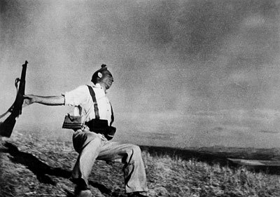 One of the most famous images of war; this photo was taken by Robert Capa during the Spanish Civil War.  Long thought to be an image of a dying Republican, it is now known that the image was in fact staged. Originally taken September 5, 1936. Robert Capa would on to photograph the landings at Normandy during WWII.  He later died in the First Indochina War after stepping on a landmine.