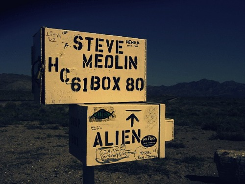"boundsbounds:  ""The Black Mailbox"" Near Area 51 , Nevada , U.S  Makes me want to watch Paul again."