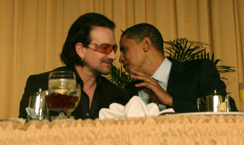 awesomepeoplehangingouttogether:  Bono and President Barack Obama