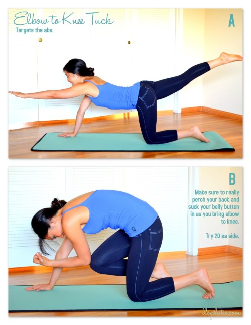 blogilates:  Move of the Day: Elbow to Knee Tuck Targets your abs! This is your new move for today. Remember to do it slowly and precisely. You MUST perch your back as you come in or else you will not be doing your abs any good. Squeeze, squeeze, squeeze your belly button into your spine! Have fun. 20 ea side for me. <3 Cassey