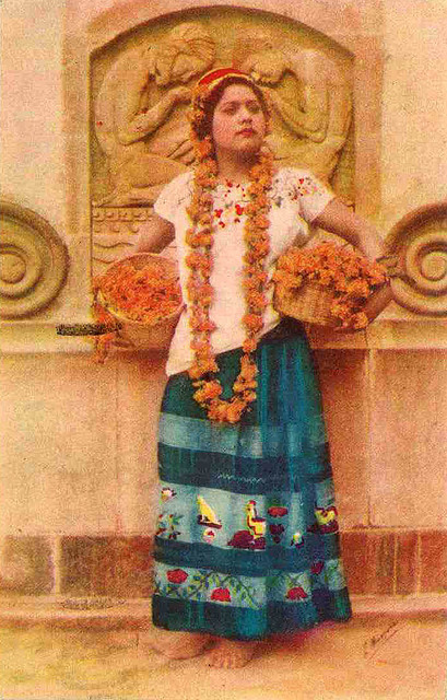 Muchacha del Estado de Guerrero,Mexico 1940s postcard. I love all the  Marigold flowers. and the way shes stading lookin Bad Ass.   BAM