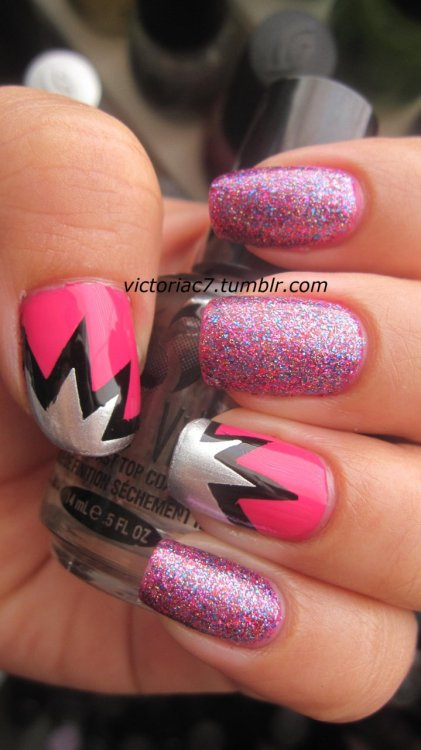victoriac7:  Tried Nailside's explosion design! I love tape manis Colors used:  Sally Hansen X-treme Wear - Rockstar Pink Sally Hansen X-treme Wear - Fusschia Power Sally Hansen X-treme Wear - Black Out Sally Hansen Insta-Dri - Silver Sweep