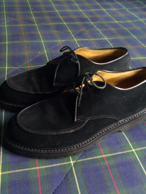 Buy my Armani shoes. For sale:  Black Suede Giorgio Armani lace up shoes.  Excellent condition. CLICK