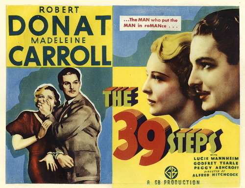 "The 39 Steps (1935) DIR: Alfred Hitchcock The 39 Steps is arguably the best of Hitchock's British films, before he moved to Hollywood in 1939. It is a thriller that is equally mysterious as it is humorous - a formula that Hitchcock would continue to use again and again. It stars Madeleine Carroll as the ""cool blonde"" alongside Robert Donat, who plays Hannay, a man who is innocent and yet is running away from the police. Links: IMDb 