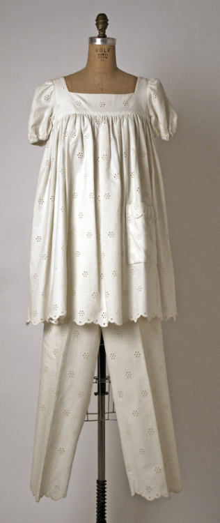 A casual white eyelet evening ensemble by Geoffrey Beene, 1969.