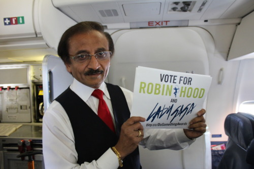 This flight attendant supports Robin Hood. Have you voted yet?