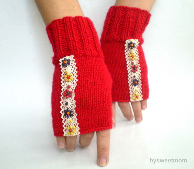 Red Fingerless Glove with Beaded Lace Hand Knit on Flickr.