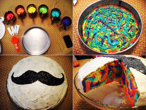 youshakemyblood:  OMFG I WANT TO TRY THIS. SOMEBODY BAKE A RIDICULOUSLY COLORED CAKE LIKE THIS WITH ME.