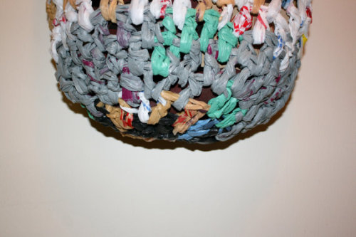 detaol of laundry bag made from crocheting plastic bags