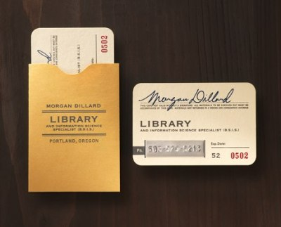 thecardiganlibrarian:  coolest librarian business cards, or coolest librarian business cards of all time? [via]  Thinking about business cards to take to Umbrella 2013 because I think the most meaningful 'networking' encounters I experience will be outside the hubbub of the conference.  I am struggling to think of text to put on, aside from my name, email address and Twitter name, because I don't know what I am yet.  Partway through my Master's degree, I'm not a qualified librarian just yet, but I don't want to crowd the card with all my interests and aspirations.Anyway, look at these!