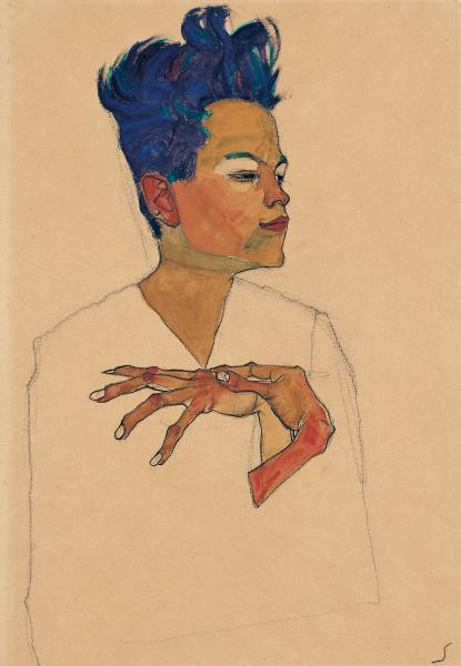 Egon Schiele, Self-portrait with hands on chest, 1910. Charcoal, watercolour and gouache. Kunsthaus Zug, Stiftung Sammlung Kamm (via National Gallery of Victoria)