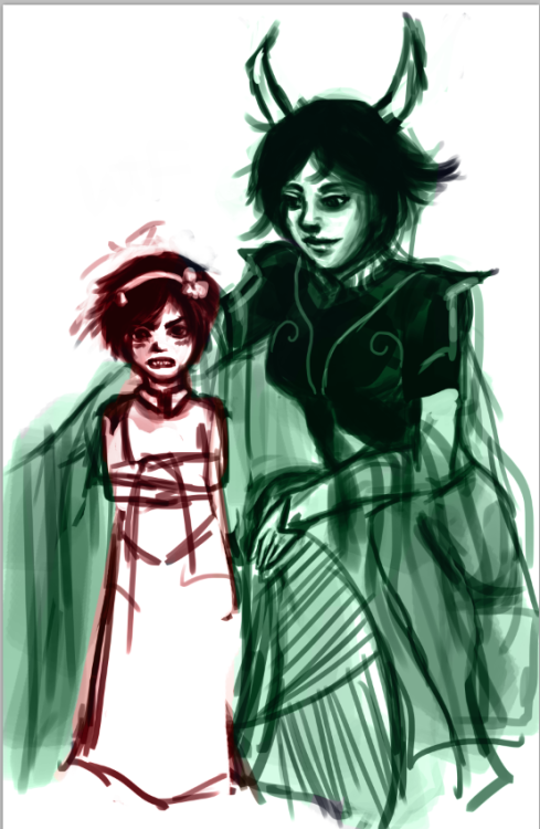 panimi:  Work in Progress of Dolorosa and Baby!Sufferer. She totes made him a matching outfit to hers. Totally did.  awww this WIP was never finished. i kinda miss drawing the trolls and their ancestors. wasn't much of a fan of the kids.