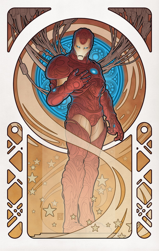 awesomealtart:  A very cool rendering of Iron Man in art nouveau style by John Tyler Christopher.