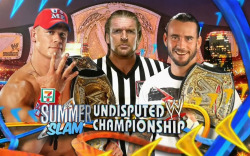 CM Punk vs. John Cena at SummerSlam 2011 WWE SummerSlam 2011 - CM Punk vs. John Cena for the Undisputed WWE Championship with special guest referee Triple H http://bit.ly/mYxRH4