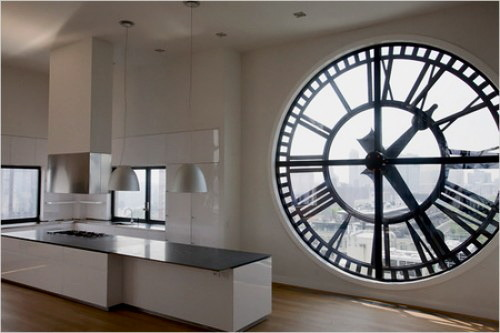 Not a fan of the boring white furniture, but omg that clock!