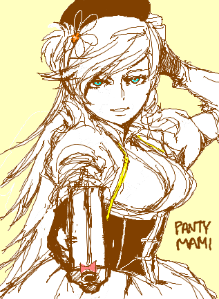wuzidan:  It started off as Mami, then sultry ooc Mami, and settled into Panty cosplaying as Mami.