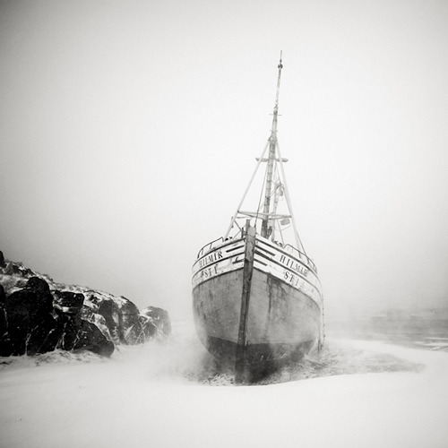 Fishing Boat during Blizzard - Iceland, 2006. Photography by Josef Hoflehner.
