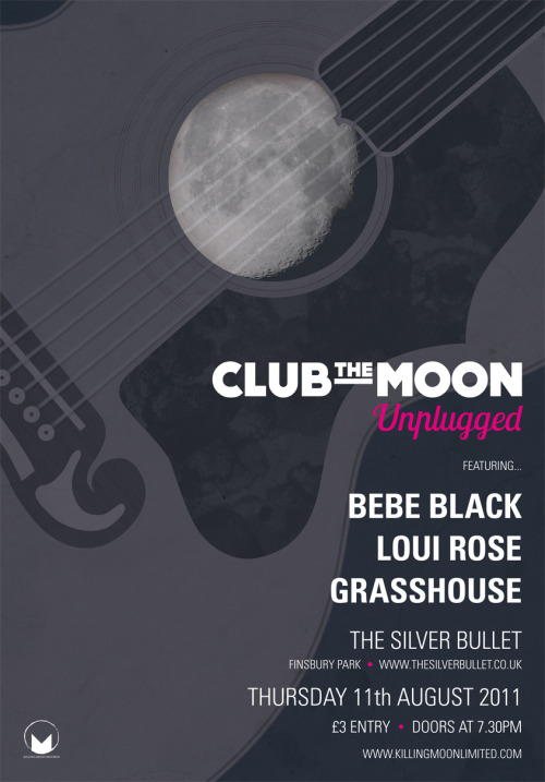 Design and layout of poster for Club The Moon, a monthly club night run by Killing Moon Records. www.killingmoonlimited.com
