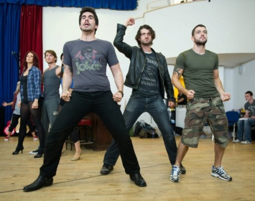 Simon Lipkin, Oliver Tompsett & Shayne Ward rehearsing for Rock of Ages London.