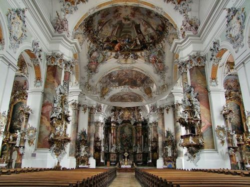 Ottobeuren Abbey basilica interior in Ottobeuren, Germany. I cannot find a designer for this Rococo work, but I believe it was done during the time of Abbot Rupert Ness in the early 18th century.