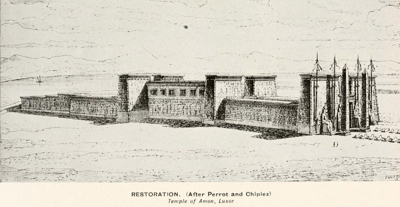 Hypothetical restoration drawing after Perrot and Chipiez of the Temple of Amon, Luxor