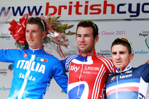 London-Surrey Cycle Classic Podium: Mark Cavendish, Sasha Modolo and Sammy Dumoulin. (via (L-R) Sasha Modolo Of Team Italy, Mark Cavendish Of Team GB And Samuel Dumoulin Of Team France Pose On Stage - Yahoo! Sports Photos)