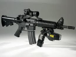M4 Carbine with a tazer under attachment.