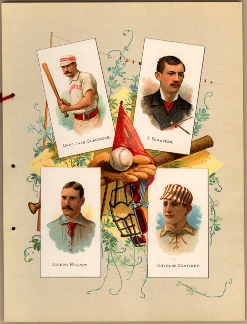 Allen and Ginter Album of Worlds Champions Tobacco Advertisement Published by W. Duke Sons & Co. circa 1888-1900 Tobacco Advertisement, Sports: Billiards and Baseball, People in Photo: Captain Jack Glasscock, J. Schaefer, Joseph Mulvey, Charles Comiskey