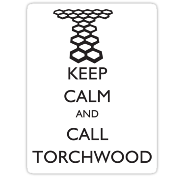 Here is the latest Torchwood design done in sticker form.  http://www.redbubble.com/people/thischarmingfan/t-shirts/7613485-sticker-keep-calm-and-call-torchwood You can see the t-shirt here: http://www.redbubble.com/people/thischarmingfan/t-shirts/7609039-keep-calm-and-call-torchwood-white