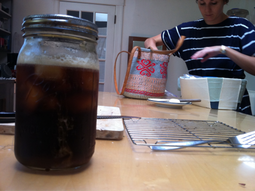 whileiexist:  Slow brewed coffee overnight. Filtered the next day. Iced!  This is something that I miss. Toddy in ball jars. Tea in ball jars. I have a solution for all this, though. I will buy ball jars with lids and will no longer have to miss it. Thanks for the reminder Joey. Can you post your process for slow-brewing?