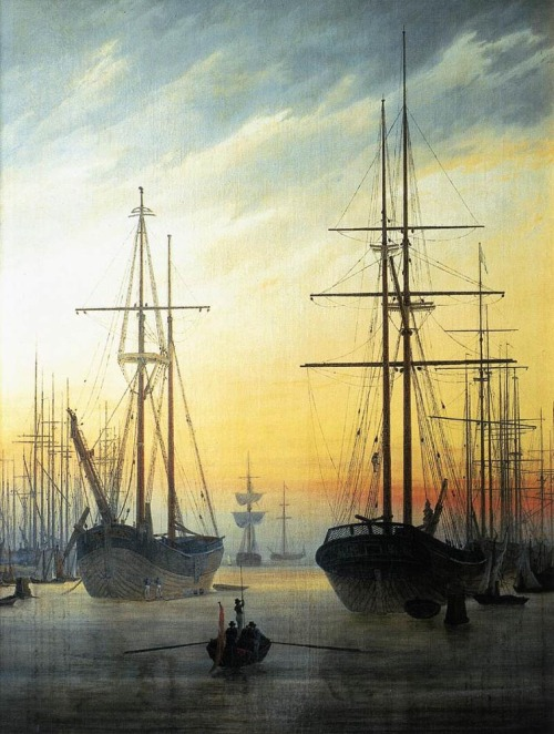"welovepaintings:  Caspar David Friedrich (1774-1840)View of a HarbourOil on canvas1815-181671 x 90 cm(27.95"" x 35.43"")Private collection"