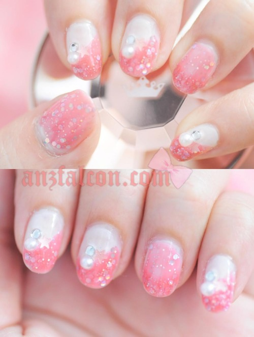 "anzfalcon:  ""Pink glitters, start and pearl nail deco!"" Watch my tutorial in 720p HD quality here. PRODUCTS USED: OPI Natural nail base coat Essie in ""walk down the aisle"" Dear Laura PA in ""AA19"" Pink star glitter (Marukai) Rhinestone and pearl deco (Ebay) Seche Vite dry fast top coat"