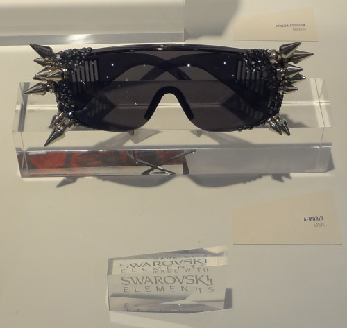 A-Morir eyewear with spikes and Swarovski crystals. There are many variations of this style with the sudden burst of custom eyewear designers that emerged over the past two years….but these are done properly….everyone needs to wear a pair of these at least once in their lifetime… Trust me.. your missing out when you don't turn it up at least 50 notches, once in a while. These were displayed in a special case showcasing designers that use Swarovski crystals. The Swarovski crystal has the closest bling to a diamond, thats why they are used by many notable designers today.