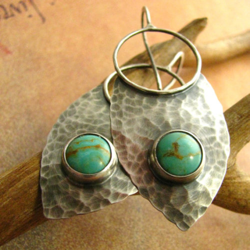 Turquoise Earrings Sterling Silver Shields by Etsy seller Mocahete