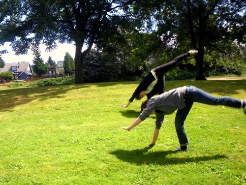 Practicing cartwheels in the park, summer in Seattle is so nice.