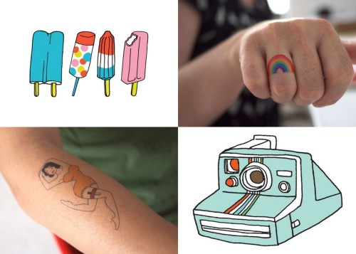 our fave whimsical picks from tattly! for those of you who haven't quite decided on your next whimsical tattoo, tattly temporary tattoos are perfect ways to try on different designs. i think my next tattoo will be a portrait of margot tenenbaum as a pug. top left: popsicles; top right: rainbow; bottom left: bezier girl; bottom right: instant camera