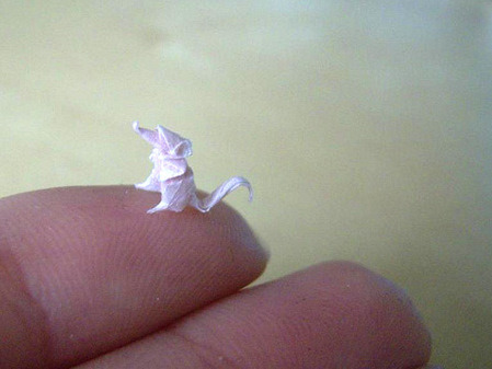 Mini Origami. Found at Colossal Art and Design here. Paper artist Anja Markiewicz folds these impossibly small origami pieces using sheets of paper smaller than an inch in width. Many more examples here.
