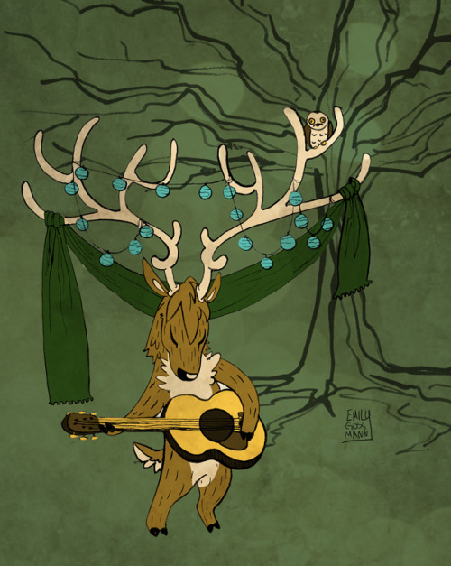 "HI DODGER. It's a funny thing that your name is ""Hipsterdeer."" This has been sitting on my harddrive for a long time. He was part of a whole woodlandband but I'm bored of that project now so you just get him. :>"