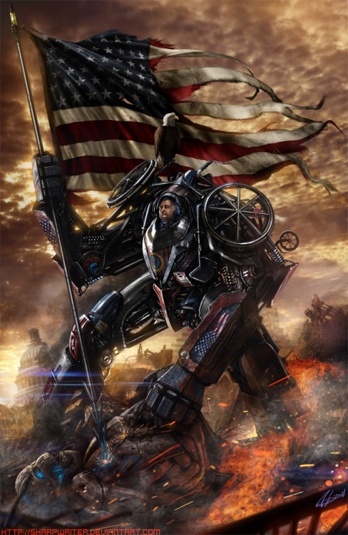 32nd President Franklin D. Roosevelt is back, in rad mech form, to get the United States in order once again. Check out Jason Heuser's amazing illustration full size to see all of the fun extras / memes added throughout. You can also grab up this brilliant artwork as a print at his Etsy Store. FDR Battle Master by          Jason Heuser (Etsy) (CGHUB) (Twitter)