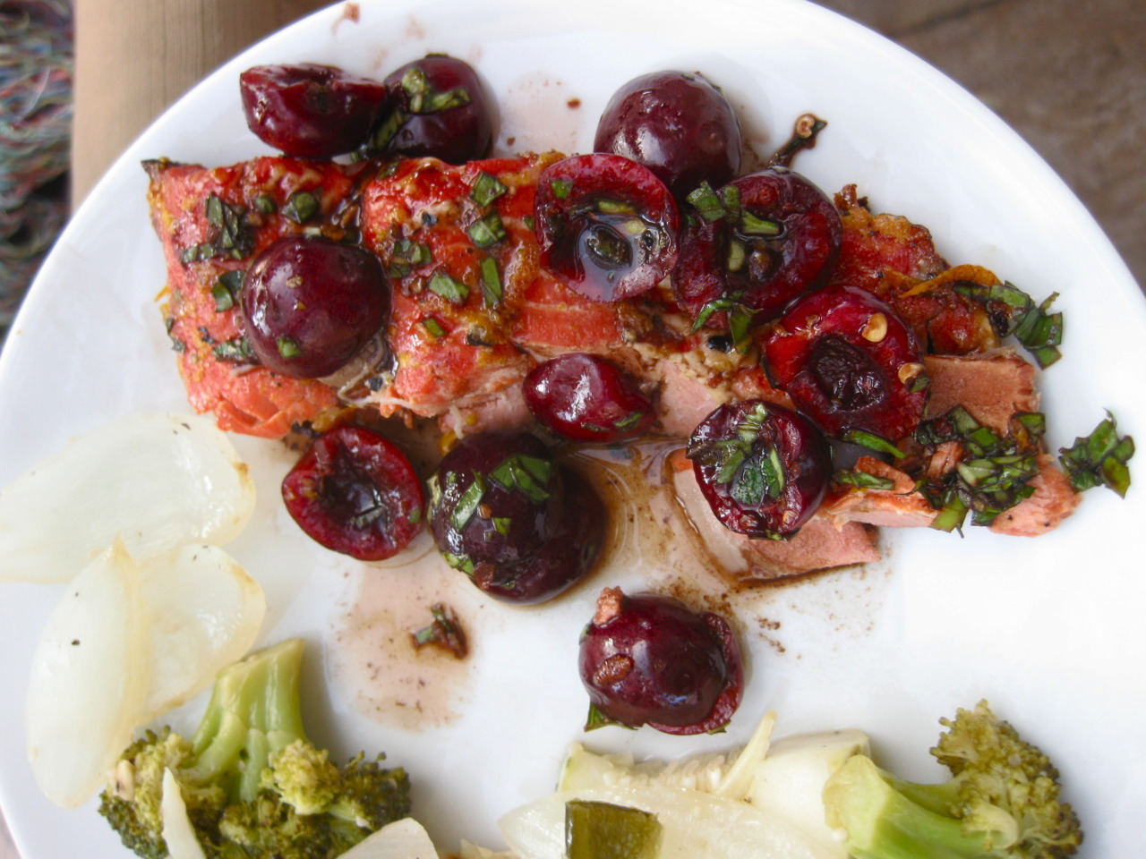 Caramelized Wild Salmon with Cherry Salsa I love trying new things and this one was really quite different. My only issue was that I thought perhaps the cherries distracted from the salmon flavor a bit. I didn't have mangos on hand so perhaps if I had added those the dish would have been more cohesive. Howeverrrrr the glaze is highly recommended. (I went very light on the sugar and stronger on the citrus and salt.)
