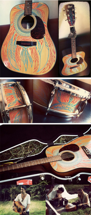 HAND PAINTED INSTRUMENTS…   Mercury Crowe asked me to paint some quick designs on a guitar and a drum for their latest music video 'Ride'. Hand painting feather patterns in red and blue on two of my favourite instruments? Why of course I will!! The big feather on the bottom right of the guitar was left un-finished so the gypsy girl with the feather paintbrush could finish it off in the video clip…..