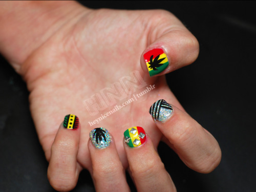 heynicenails:  Rasta nails for my girl Julie. I used Dare to Wear Hologram Diamond glitter polish (best holographic glitter polish ever!) and CND Blackjack, Relay Red, Bicycle Yellow and Green Scene.
