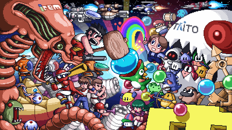 """Irem vs Taito"" by Paul Robertson (click for a much larger image). It's pixelart pandemonium as the titans of these two Japanese video game publishers duke it out! Hammerin' Harry versus the Puzzle Bobble Crew! Ninja Baseball Bat Man versus Time Gal's Reika! R-Type crafts versus Darius ships! Mr. Heli versus Invaders! The only battle missing is the kusoge match-up of the millenium, Deadly Towers' Prince Myer versus Beat Takeshi. Robertson created this image and two others — one based on Konami's obscure arcade beat'em up Violent Storm, and another NSFW piece for Custer's Revenge — for the Super iam8bit show. See them all here. Perfect reminder to watch some King of Famicom. Buy: Nintendo 3DS (Flame Red, Black, & Blue) Find: Nintendo DS/3DS release dates, discounts, & more"